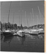 Marina On Lake Murray S C Black And White Wood Print
