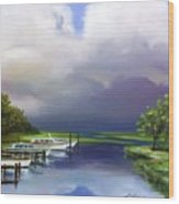 Marina On The Intracoastal Waterway  South Carolina Wood Print