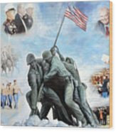 Marine Corps Art Academy Commemoration Oil Painting By Todd Krasovetz Wood Print
