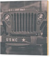 Marine Corps Jeep In Black And White Wood Print
