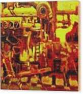 Marine Engine Wood Print
