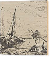 Marine: Fishing Boats On Shore, Man With Oars, Ship In Distance Wood Print
