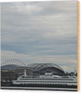 Mariners Seahawks And Ferry Wood Print