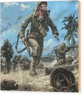 Marines In The Pacific Wood Print