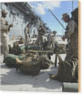 Marines Move Gear During An Embarkation Wood Print