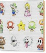 Mario Characters in Watercolor Wood Print
