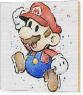 Mario Watercolor Fan Art Wood Print