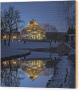 Marjorie Mcneely Conservatory At Dusk Wood Print