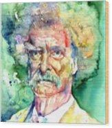 Mark Twain Watercolor Wood Print