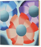 Mark Webster - Abstract Futurist Flowers 2 Oil Painting  Wood Print
