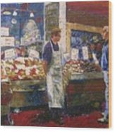 Market Conversation Wood Print