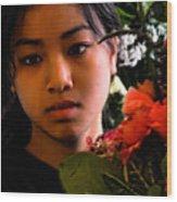 Market Flower Seller Wood Print