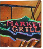 Market Grill Wood Print