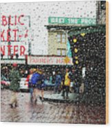 Market In Rain J005 Wood Print
