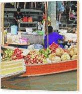 Market In Thailand Wood Print