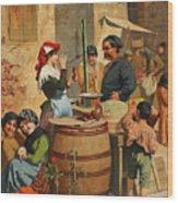 Market Scene In Trieste Wood Print