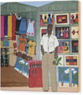 Market Stall In Dominican Republic Wood Print