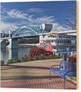 Market Street Bridge With The Delta Queen From Coolidge Park Wood Print