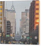 Market Street Philadelphia - In The Morning Wood Print