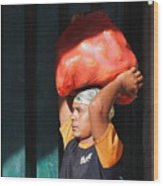 Market Trader In Bali Wood Print