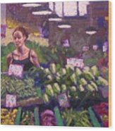 Market Veggie Vendor Wood Print