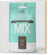 Marketing Mix 4 P's Wood Print