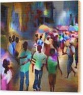Marketplace At Night Cap Haitien Wood Print by Bob Salo