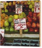 Marketplace Fruit Wood Print