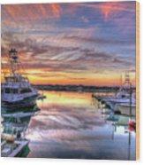 Marlin Quay Marina At Sunset Wood Print