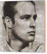 Marlon Brando, Vintage Actor Wood Print