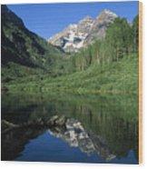 Maroon Bells At Maroon Lake Wood Print