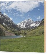 Maroon Bells Trail Panorama Wood Print
