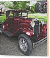 Maroon Vintage Car Wood Print