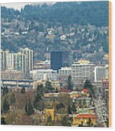 Marquam Bridge By Portland City Skyline Panorama Wood Print