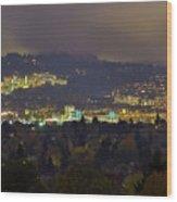 Marquam Hill And Portland Bridges At Night Wood Print