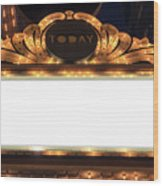 Marquee Lights Blank Sign Wood Print