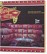 Marquee Motel 1960's Wildwood, Nj, Copyright Aladdin Color Inc. Wood Print