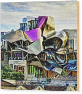 marques de riscal Hotel at sunset - frank gehry - vintage version Wood Print