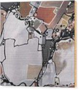 Marron Mapa Wood Print