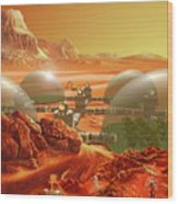Mars Colony Wood Print by Don Dixon