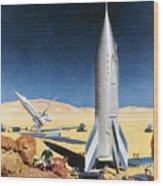 Mars Mission, 1950s Wood Print