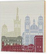 Marseille Skyline Poster Wood Print