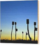 Marsh Birdhouses Wood Print