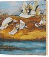 Marsh Flight Wood Print
