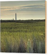 Marsh Grass And Morris Island Lighthouse Wood Print