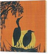 Marsh Nest Wood Print