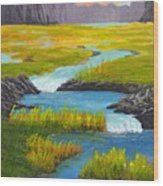 Marsh River Original Painting Wood Print