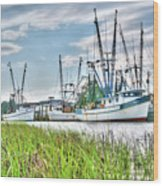 Marsh View Shrimp Boats Wood Print