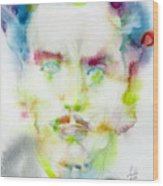 Marshall Mcluhan - Watercolor Portrait Wood Print