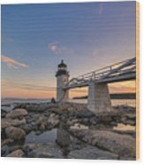 Marshall Point Lighthouse Reflections Wood Print